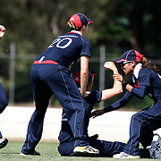 Charlotte Edwards the England Captain celebrates after catching Amy Satterthwaite  during the match between England and New Zealand in the Super 6 stage of the ICC Women's World Cup Cricket tournament at Bankstown Oval, Sydney, Australia on March 14 2009, England won the match by 31 runs. Photo Tim Clayton