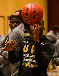 Images of the Central Florida Knights as they compete in a hot shot basketball competition and get haircuts at the Omni Hotel on Thursday, December 28, 2017, in Atlanta, GA. UCF will face Auburn in the Chick-fil-A Peach Bowl on January 1, 2018. (Jason Parkhurst via Abell Images for Chick-fil-A Peach Bowl)