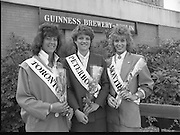 Roses of Tralee at Guinness Brewery..1986.20.08.1986..08.20.1986..20th August 1986..As part of the 50th running of the Rose Of Tralee Festival the thirty Rose contestants were invited to The Guinness Brewery,St James's Gate,Dublin. At the reception in their honour, Mr Pat Healy,Sales Director,Guinness Group Sales,welcomed the roses at the Guinness Reception Centre..Extra: Ms Noreen Cassidy,representing Leeds,went on to win the title of 'Rose Of Tralee'...A World apart contestants from Canada and England are pictured at the guinness reception.