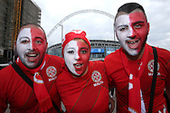 a Group of Malta fans pose for a photo outside Wembley Stadium before k/o.FIFA World cup qualifying match, european group F, England v Malta at Wembley Stadium in London on Saturday 8th October 2016.<br /> pic by John Patrick Fletcher, Andrew Orchard sports photography.