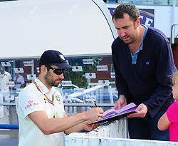 Mark Wood of Durham signs autographs.  - Mandatory by-line: Alex Davidson/JMP - 04/08/2016 - CRICKET - The Cooper Associates County Ground - Taunton, United Kingdom - Somerset v Durham - County Championship