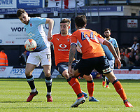 Blackpool's Jordan Flores holds off the challenge from Luton Town's Oliver Lee<br /> <br /> Photographer David Shipman/CameraSport<br /> <br /> The EFL Sky Bet League Two - Luton Town v Blackpool - Saturday 1st April 2017 - Kenilworth Road - Luton<br /> <br /> World Copyright © 2017 CameraSport. All rights reserved. 43 Linden Ave. Countesthorpe. Leicester. England. LE8 5PG - Tel: +44 (0) 116 277 4147 - admin@camerasport.com - www.camerasport.com