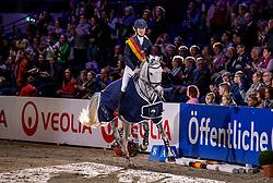 OSTERMANN Henrike (GER), Clintess<br /> Siegerehrung<br /> Finale HGW-Bundesnachwuchschampionat der Springreiter <br /> gefördert durch die Horst-Gebers-Stiftung <br /> In Memoriam Debby Winkler<br /> Stilspringen Kl. M*<br /> Nat. style jumping competition Kl. M*<br /> Braunschweig - Classico 2020<br /> 08. März 2020<br /> © www.sportfotos-lafrentz.de/Stefan Lafrentz