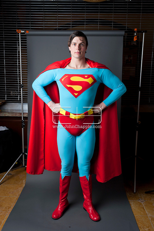 24th February 2011. Las Vegas, Nevada.  Celebrity Impersonators from around the globe were in Las Vegas for the 20th Annual Reel Awards Show. Pictured is Clark Kent / Superman impersonator Alexander Rae,26, from Pennsylvania. Photo © John Chapple / www.johnchapple.com..