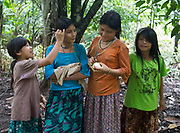 Jose's garnd daughters going to pick up cacao in the jungle, near their house. House of Jose.