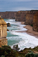 Heavy seas batter the Shipwreck Coast along the Great Ocean Road resulting in beautiful rugged limestone cliffs.