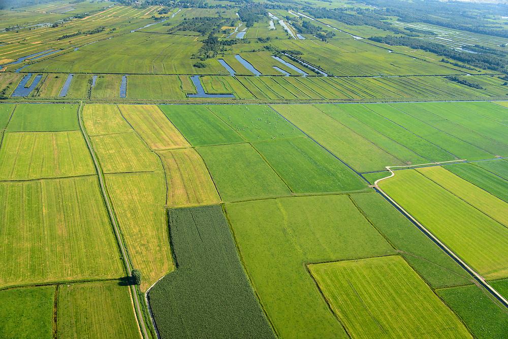 Nederland, Noordoostpolder, Overijssel, 27-08-2013;<br /> Op de grens van oud (boven) en nieuw land (beneden) in de polders,  respectievelijk Weerribben en NOP<br /> On the border between old and new country in the polders.<br /> luchtfoto (toeslag op standaard tarieven);<br /> aerial photo (additional fee required);<br /> copyright foto/photo Siebe Swart.