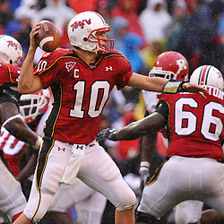 Sep 26, 2009; College Park, MD, USA; Maryland quarterback Chris Turner (10) makes a pass during the first half of Rutgers' 34-13 victory over Maryland in NCAA college football at Byrd Stadium.