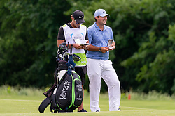 May 9, 2019 - Dallas, TX, U.S. - DALLAS, TX - MAY 09: Patrick Reed and his caddie Kessler Karain prepare for their approach shot to #2 during the first round of the AT&T Byron Nelson on May 9, 2019 at Trinity Forest Golf Club in Dallas, TX. (Photo by Andrew Dieb/Icon Sportswire) (Credit Image: © Andrew Dieb/Icon SMI via ZUMA Press)