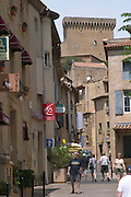 narrow street leading to chateau chateauneuf du pape rhone france