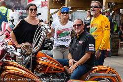 Klock Werks' Vanessa and Brian Klock with Andrea Labarbara and Bob Zeolla at the Perewitz Paint Show at the Iron Horse Saloon during the Sturgis Black Hills Motorcycle Rally. SD, USA. Wednesday, August 7, 2019. Photography ©2019 Michael Lichter.