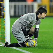 Trabzonspor's goalkeeper Tolga Zengin during their Turkish superleague soccer derby match Fenerbahce between Trabzonspor at the Sukru Saracaoglu stadium in Istanbul Turkey on Sunday 18 December 2011. Photo by TURKPIX