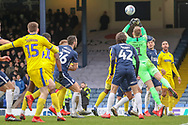 Southend United goalkeeper Mark Oxley (1) punching the ball during the EFL Sky Bet League 1 match between Southend United and AFC Wimbledon at Roots Hall, Southend, England on 16 March 2019.