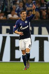 GELSENKIRCHEN, Sept. 30, 2017  Leon Goretzka of Schalke 04 celebrates scoring during the German Bundesliga match between Schalke 04 and Bayer Leverkusen in Gelsenkirchen, Germany, on Sept. 29, 2017. The match ended with a 1-1 tie. (Credit Image: © Joachim Bywaletz/Xinhua via ZUMA Wire)