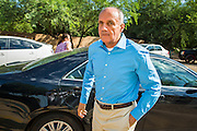29 AUGUST 2012 - PARADISE VALLEY, AZ:   Dr. RICHARD CARMONA, Democratic candidate for US Senate from Arizona, arrives at Barry Goldwater Memorial Park in Paradise Valley, AZ for a press conference Wednesday. Carmona won the endorsements of Joanne Goldwater, daughter of Barry Goldwater, the late legendary Republican Senator from Arizona. He was also endorsed by CC Goldwater, her daughter, and Tyler Ross Goldwater, CC Goldwater's son. Barry Goldwater was from Paradise Valley.    PHOTO BY JACK KURTZ