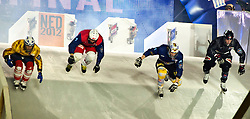 04-02-2012 SKATING: RED BULL CRASHED ICE WORLD CHAMPIONSHIP: VALKENBURG<br /> (L-R) Arttu Pihlainen FIN, Kilian Braun SUI, Fabian Mels GER, Kyle Croxall CAN (winner of the tournament) during the Semi final<br /> ©2012-FotoHoogendoorn.nl / Peter Schalk