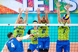 Tine Urnaut, Alen Pajenk and Toncek Stern of Slovenia in block during friendly volleyball match between Slovenia and Serbia in Arena Stozice on 2nd of September, 2019, Ljubljana, Slovenia. Photo by Grega Valancic / Sportida