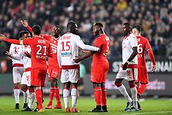 November 3, 2017 - Rennes, France - 05 Joris Gnagnon (ren) - 13 Younousse Sankhare (bor) - 15 Alexandre Mendy (bor) - COLERE - ALTERCATION (Credit Image: © Panoramic via ZUMA Press)