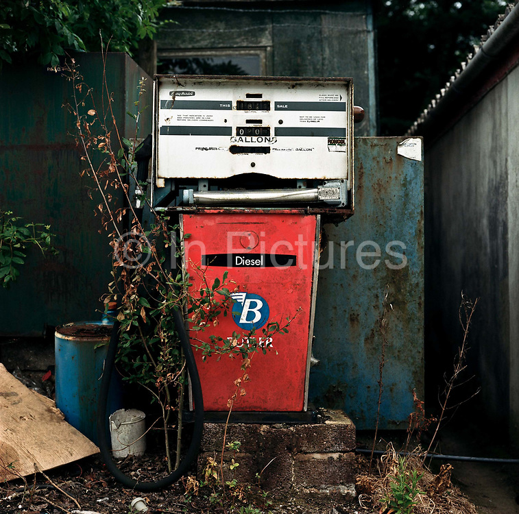 An old fashioned diesel pump at Yarcombe Coach House and Garage on the 19th July 2008 in Yarcombe in the United Kingdom.