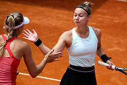 Nina Potocnik and Pia Cuk of team East celebrate during Day 2 of tennis tournament Mima Jausovec cup where compete best Slovenian tennis players of the East and West, on June 7, 2020 in RCU Lukovica, Slovenia. Photo by Matic Klansek Velej / Sportida