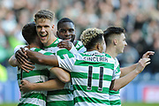 Team mates congratulate Ryan Christie on scoring goal during the Betfred Semi-Final Cup match between Heart of Midlothian and Celtic at Murrayfield, Edinburgh, Scotland on 28 October 2018.