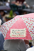 08/07/2018  repro  free:  Umbrella in the rain at The National Day of Commemoration Ceremony at NUI Galway in honour of all those  Irishmen and Irish Women who served in past wars or on Service with the UN.Photo:Andrew Downes, XPOSURE