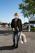 outdoors food market shopper portrait during Covid 19 crisis France Limoux April 2020