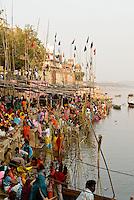 Pilgrims at the ghats during the festival of Kartik Poornima in Varanasi, Uttar Pradesh, India