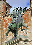Pizarro statue in historic medieval town of Trujillo, Caceres province, Extremadura, Spain