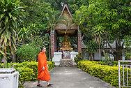 Buddhist monk at a temple in Luang Prabang.