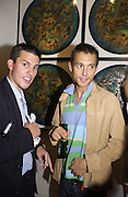 tom Teodorczukes and Dan Macmillan<br />2001 A Space Oddity. Colony Room exhibition.  A22 Gallery. 28 October 2001. © Copyright Photograph by Dafydd Jones 66 Stockwell Park Rd. London SW9 0DA Tel 020 7733 0108 www.dafjones.com