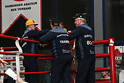Boxen: Venetis Box Promotion, Hamburg, 05.03.2016<br /> v.l.: Trainer Ralf Rocchigiani, Trainer Michael Trabant und Trainer Graciano Rocchigiani (Gym Hauptstadtboxer)<br /> © Torsten Helmke