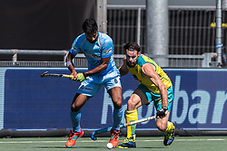 (L-R) Surender Kumar of India, Trent Mitton of Australia during the Champions Trophy finale between the Australia and India on the fields of BH&BC Breda on Juli 1, 2018 in Breda, the Netherlands.