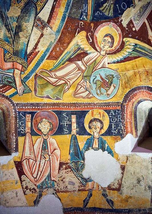 Romanesque frescoes depicting the Apostles from the Church of Sant Miguel d'Engolasters, Les Escaldes, Andorra.. Painted around 1160. National Art Museum of Catalonia, Barcelona. MNAC 15972 .<br /> <br /> If you prefer you can also buy from our ALAMY PHOTO LIBRARY  Collection visit : https://www.alamy.com/portfolio/paul-williams-funkystock/romanesque-art-antiquities.html<br /> Type -     MNAC     - into the LOWER SEARCH WITHIN GALLERY box. Refine search by adding background colour, place, subject etc<br /> <br /> Visit our ROMANESQUE ART PHOTO COLLECTION for more   photos  to download or buy as prints https://funkystock.photoshelter.com/gallery-collection/Medieval-Romanesque-Art-Antiquities-Historic-Sites-Pictures-Images-of/C0000uYGQT94tY_Y