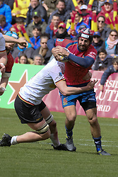 March 11, 2018 - Madrid, Madrid, Spain - Mathiu Belie  from Spain is tackle by a player from Germany during the match of Spain against Germany as part of the Rugby Europe Championship on day 4 of Rugby World Cup Trophy Tour on March 11, 2018 in Madrid, Spain. (Credit Image: © Oscar Gonzalez/NurPhoto via ZUMA Press)
