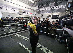 © Licensed to London News Pictures. 13/11/2019. London, UK. Lib Dem leader Jo Swinson visit to Total Boxer, in Crouch End a specialised boxing gym which offers training to young people as a means of keeping them away from violence. Jo will meet the owner as well as several young people involved with the gym, and enter the ring for a short session. Photo credit: Alex Lentati/LNP
