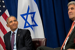 U.S. President Barack Obama winks during a bilateral meeting with Prime Minister of Israel Benjamin Netanyahu at the Lotte New York Palace Hotel, September 21, 2016 in New York City. Last week, Israel and the United States agreed to a $38 billion, 10-year aid package for Israel. Obama is expected to discuss the need for a 'two-state solution' for the Israeli-Palestinian conflict. Photo by Drew Angerer/Pool/ABACAPRESS.COM
