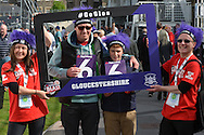 Gloucestershire fans during the NatWest T20 Blast South Group match between Gloucestershire County Cricket Club and Middlesex County Cricket Club at the Bristol County Ground, Bristol, United Kingdom on 15 May 2015. Photo by Alan Franklin.