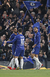 BRITAIN-LONDON-FOOTBALL-UEFA EUROPA LEAGUE-CHELSEA VS FRANKFURT.(190510) -- LONDON, May 10, 2019  Chelsea's Ruben Loftus-Cheek (R) celebrates after scoring during UEFA Europa League semi-final second leg match between Chelsea and Frankfurt in London, Britain on May 9, 2019.  FOR EDITORIAL USE ONLY. NOT FOR SALE FOR MARKETING OR ADVERTISING CAMPAIGNS. NO USE WITH UNAUTHORIZED AUDIO, VIDEO, DATA, FIXTURE LISTS, CLUBLEAGUE LOGOS OR ''LIVE'' SERVICES. ONLINE IN-MATCH USE LIMITED TO 45 IMAGES, NO VIDEO EMULATION. NO USE IN BETTING, GAMES OR SINGLE CLUBLEAGUEPLAYER PUBLICATIONS. (Credit Image: © Xinhua via ZUMA Wire)
