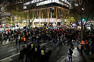 Heavy police presence as protesters shout slogans and hold up signs at Martin Place during a 'Black Lives Matter' rally on 02 June, 2020 in Sydney, Australia. This event was organised to rally against aboriginal deaths in custody in Australia as well as in unity with protests across the United States following the killing of an unarmed black man George Floyd at the hands of a police officer in Minneapolis, Minnesota. (Photo by Steven Markham/ Speed Media)