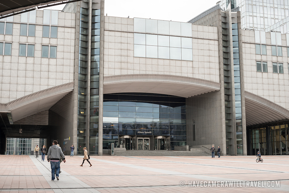 The main plaza in front of the European Parliament Building in Brussels, Belgium.