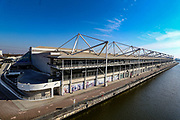ExCell Center in London, Thursday, March 26, 2020. The British Government announced Tuesday, that the ExCel Center in east London will become a 4,000 bed temporary hospital to deal with future coronavirus patients, to be called NHS Nightingale.  (Photo/Vudi Xhymshiti)