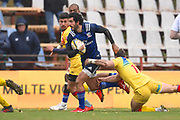 USA player Ryan Matyas breaks a tackle down the sideline in the first half during the November Test match between Romania and USA at Ghencea Stadium, Bucharest, Romania on 17 November 2018.
