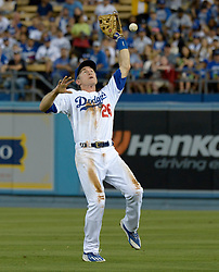 June 21, 2017 - Los Angeles, California, U.S. - Los Angeles Dodgers second baseman Chase Utley drops a pop-up by New York Mets' T.J. Rivera (not pictured) in the fourth inning of a Major League baseball game at Dodger Stadium on Wednesday, June 21, 2017 in Los Angeles. Los Angeles. (Photo by Keith Birmingham, Pasadena Star-News/SCNG) (Credit Image: © San Gabriel Valley Tribune via ZUMA Wire)