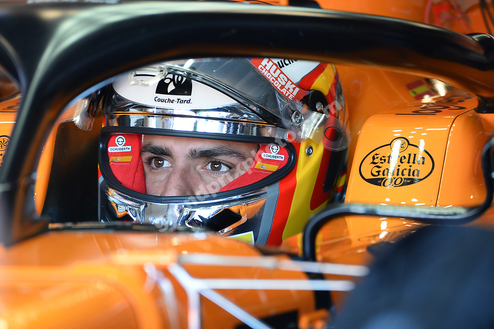 Carlos Sainz Jr (McLaren-Renault) in the pits with his helmet on during practice for the 2019 Canadian Grand Prix in Montreal. Photo: Grand Prix Photo