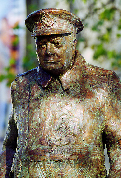 Bronze statue of Sir Winston Churchill in Paris, France