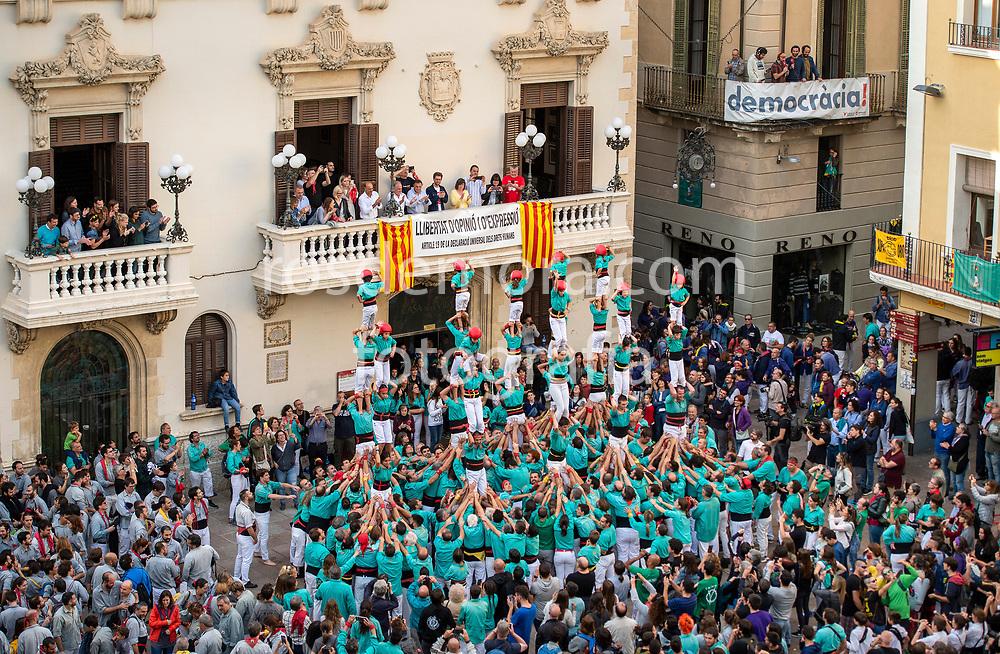 Final pillars.Members of Castellers de Vilafranca celebrate one of their best performances ever, in the last performance of the season in Vilafranca del Penedès,Barcelona, Spain. 1st Nov 2019.