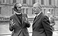 Rev Joseph Parker, a Church of Ireland clergyman (left), who is taking part in a fast to raise funds for the Claudy Massacre victims at Belfast City Hall, is visited by the Bishop of Connor Most Rev Arthur H Butler. The Claudy bombings, in which nine died, occurred on the 31st July 1972. Rev Parker lost his own son, Stephen Parker, 14 years, in a car bomb blast at a row of shops on the Cavehill Road. Stephen was awarded the Queen's Commendation for bravery for his efforts in warning people about the device. 197209210576JP1.<br /> <br /> Copyright Image from Victor Patterson, 54 Dorchester Park, Belfast, UK, BT9 6RJ<br /> <br /> t1: +44 28 9066 1296 (from Rep of Ireland 048 9066 1296)<br /> t2: +44 28 9002 2446 (from Rep of Ireland 048 9002 2446)<br /> m: +44 7802 353836<br /> <br /> victorpattersonbelfast@gmail.com<br /> www.victorpatterson.com<br /> <br /> Please see my Terms and Conditions of Use at http://www.c1382010.myzen.co.uk/pdf/Terms%20&%20Conditions.pdf  It is IMPORTANT that you familiarise yourself with them.<br /> <br /> Images used on the Internet incur an additional cost and must be visibly watermarked i.e. ©Victor Patterson within the body of the image and copyright metadata must not be deleted. Images used on the Internet have a size restriction of 4kbs and are chargeable at rates available at victorpattersonbelfast@gmail.com.<br /> <br /> This image is only available for the use of the download recipient i.e. television station, newspaper, magazine, book publisher, etc, and must not be passed on to any third party. It is also downloaded on condition that each and every usage is notified within 7 days to victorpattersonbelfast@gmail.com.<br /> <br /> The right of Victor Patterson to be identified as the author is asserted in accordance with The Copyright Designs And Patents Act (1988). All moral rights are asserted.