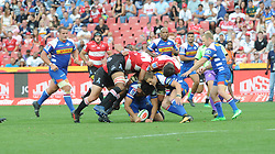 070418 Emirates Airlines Park, Ellis Park, Johannesburg, South Africa. Super Rugby. Lions vs Stormers. taclking from both sides.<br />Picture: Karen Sandison/African News Agency (ANA)