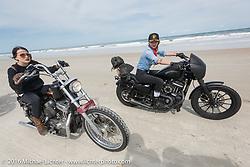 Kissa Von Addams (L) and Leticia Cline riding on Daytona Beach during Daytona Bike Week 75th Anniversary event. FL, USA. Thursday March 3, 2016.  Photography ©2016 Michael Lichter.